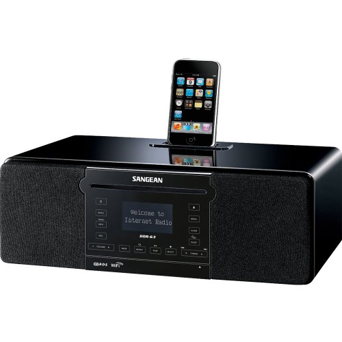 Sangean DDR-63 All-in-One Table Top with WiFi Internet, FM-RDS/Aux In/ CD/USB/iPod Cradle in Acoustically Designed Wooden Cabinet WITH FREE BLUETOOTH MUSIC RECEIVER Black