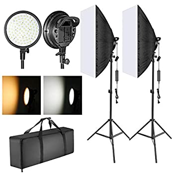 Neewer LED Softbox Lighting Kit  20x28 inches Softbox 48W Dimmable 2-Color Temperature LED Light Head with Battery Compartment and Light Stand for Indoor/Outdoor Photography  Battery Not Included