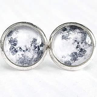 Full Moon on Silver Stud Earrings - Hypoallergenic Posts