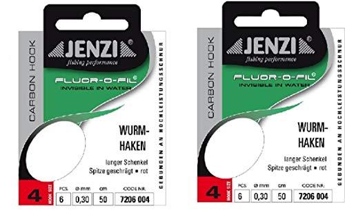 Jenzi Set de 2 paquetes de anzuelos para gusanos listos para atar, tamaño 4, 50 cm + pegatina Petri Heil!