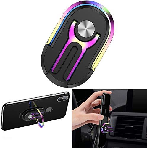 Phone Ring Holder Finger Kickstand, Multipurpose Phone Bracket, Universal Air Vent Car Phone Mount 3 in 1 Mobile Phone Stand 360 Degree Rotation (Black Multicolor)