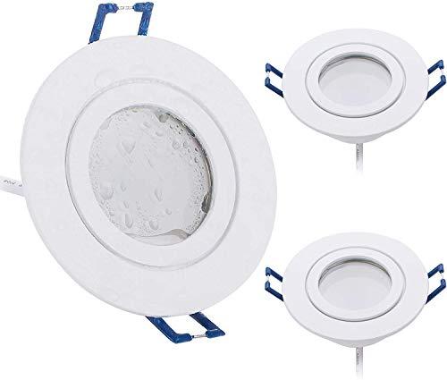 3er Set LED Einbaustrahler rund flach 5W dimmbar Neutralweiß 4000K 230V IP44 – geeignet für Bad, Küche, Sauna, Außenbereich – Ø60-70mm Bohrloch, 120°Abstrahlwinkel (Weiß - Neutralweiß)
