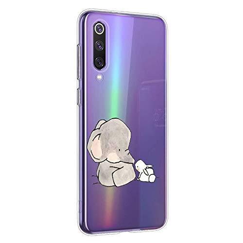 Oihxse Animal Serie Case Compatible con Xiaomi Mi Mix 2 Funda Transparente Suave Silicona Elefante Conejo Patrón Protector Carcasa Ultra-Delgado Creativa Anti-Choque Cover (A12)