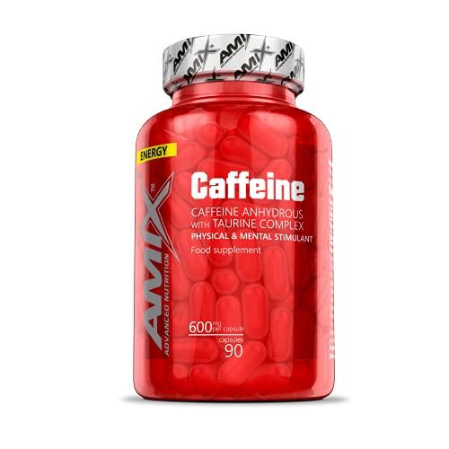 AMIX - Complemento Alimenticio - Caffeine 200 Mg With Taurine - 90 Cápsulas - Mejora la Resistencia - Ayuda a la Concentración - Suplemento Alimenticio de Cafeína