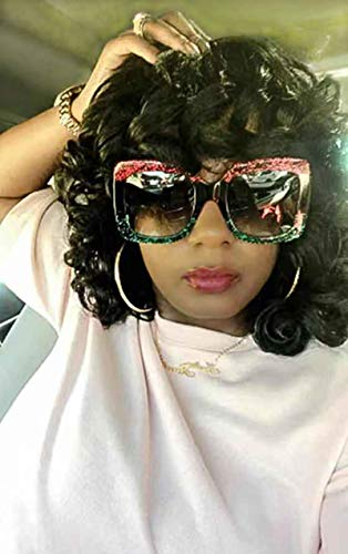Annivia Short Curly Wig for Black Women Big Bouncy Fluffy Kinky Curly Wig Heat Resist Soft Synthetic Short Curly Afro Wig