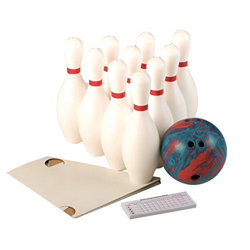 """Cosom White Weighted 10 Bowling Pin Set For Youth Party Game, Education, Regulation Height 15"""", With Accessories, 5 Pound Ball, Set-Up Sheet and Score Pad, Plastic Bowling Set for Children"""