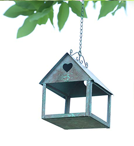 LXT PANDA Bird Feeder for Outside, Hanging Bird Feeder Tray with Strong Double-Loop Hanging Chains Steel Hanging Platform Bird Feeder Dish with Chains for Attracting Birds Outdoors, Backyard, Garden.