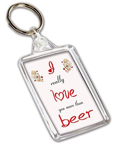 Ik hou van bier thema sleutelhanger - Valentijnsdag/verjaardag/verjaardagscadeau voor hem of haar