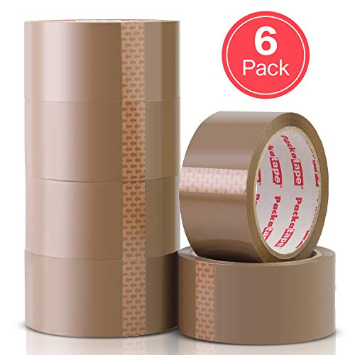 Packatape | 6 Rolls Brown Tape for Packing 48mm x 66m | Ideal as Brown Parcel Tape, Packing Tape, Packaging Tape, Parcel Tape Strong Brown, Heavy Duty Tape, Packing Tape for Moving House, Box Tape