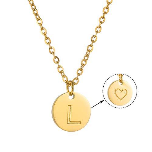 AFSTALR Inicial Letra L Collar Mujer Niñas Oro Colgante Alfabeto Corazón Regalo de Cumpleaños para Mamá y Abuela e Hija