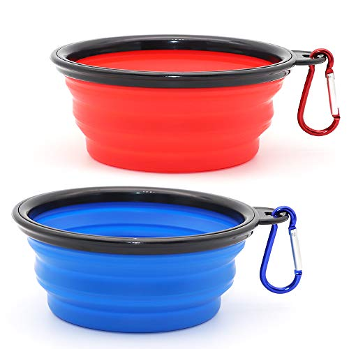 Collapsible Dog Bowl, 2 Pack Collapsible Dog Water Bowls for Cats Dogs, Portable Pet Feeding Watering Dish for Walking Parking Traveling with 2 Carabiners (Small, Blue+Red)