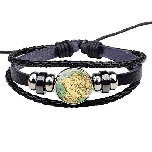n a Moda Mapa del Mundo Cuero Mujer Tejiendo Pulseras América del Norte África Francia España Inglaterra Mapa Joyería Hombres Bead Charm Bracelet