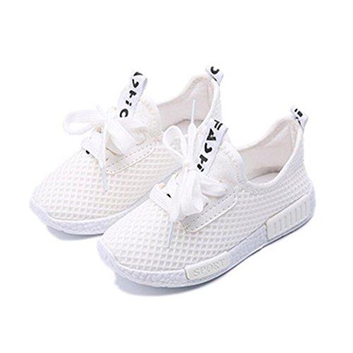 Daclay Zapatos niños Niñas Deportivo Transpirable Malla con Parte Superior de Cuero cómoda Suave Cordones Zapatillas Sneakers Blanco 20EU