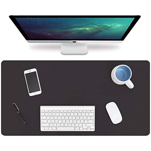 2 tappetini XXL per mouse da gioco, impermeabili, per gaming, tappetino per mouse da gioco, tappetino per mouse da scrivania, tappetino per il mouse XXL 800 x 400 in pelle PU (nero e blu scuro)