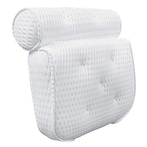 Petyoung Almohada para Bañera: Cabeza Cuello Hombros Espalda Apoyo Lumbar Malla de Aire 4D Antideslizante Almohada para La Cabeza con 7 Ventosas Fácil de Colocar para La Bañera.