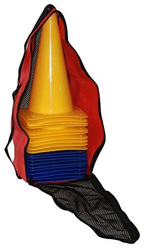 Boje Sport 20er Set Markierkegel, Pylonen mit Tasche für Pferdesport, Reitsport, Hundesport, Koordinationstraining, Ausdauertraining und Sprinttraining, 30 cm, Farbe 10 x blau/ 10 x gelb