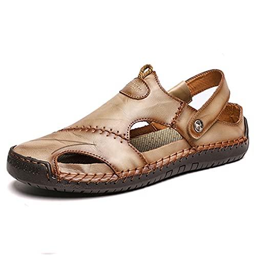 UJDKCF Sandalias de Verano Zapatillas clásicas de Cuero para Hombre Zapatos Deportivos al Aire Libre Playa de Goma Flip Flops Sandalias de Senderismo Khaki 9