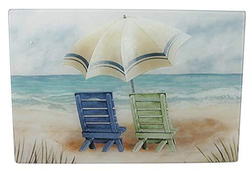 Chesapeake Bay Beach Chair Design Tempered Glass Cutting Board 68469 18 Inches X 12 Inches