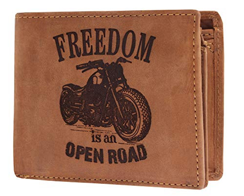 Greenburry Biker-Geldbeutel aus Leder - Portemonnaie für Biker und Trucker aus Leder - Biker-Geldbeutel in Querformat - 12,5 x 9,5 x 2,5cm