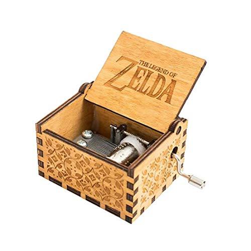 lujiaoshout Zelda Caja de música de Madera de música clásica Caja de Regalo de cumpleaños de la manivela Antiguo clásico de Madera Tallado Musical Cajas Brown