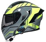 Bluetooth Integrado Casco de Moto Modular con Doble Visera Cascos de Motocicleta a Prueba de Viento ECE Homologado para Adultos Hombres Mujeres DF,L