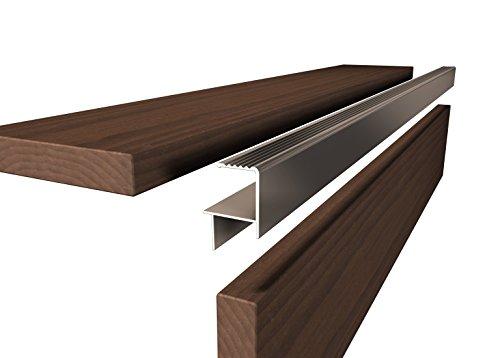 Profilé de finition pour planches et céramique jusqu'à 20-21 mm, longueur : 190 cm en aluminium anodisé gris E6EV1 pour tous les systèmes de terrasse - Barre de finition en céramique - Fabriqué en Allemagne