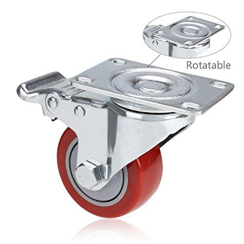 41W6lbwiDxL. SL500  - Set de 4 Ruedas Giratorias con Freno, 75mm Diámetro Industriales Ruedas para Muebles, Capacidad de carga máxima 1200 lbs (Rojo) (Rojo y plata)