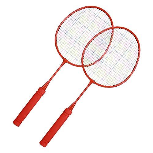 Keenso Portable Children Badminton Rackets Parent-Child Interaction Sports Kids Badminton Racquets Set Badminton Practice Racquet(Red)