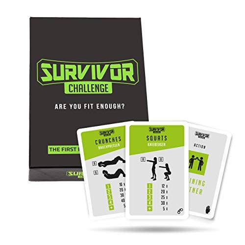 Survivor Challenge I Fitness-Kartenspiel I Spielerisch fit I Ganzkörpertraining mit Workout-Karten I Fitnessübungen für jedes Fitness-Level I Karten-Challenge für Mann und Frau I Sport Karten