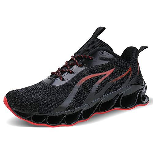 Acreat Herren Laufschuhe Fitness straßenlaufschuhe Sneaker Sportschuhe atmungsaktiv rutschfeste Mode Freizeitschuhe, 3-schwarz & Rot, 41 EU
