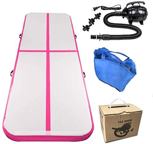 LIMQ Air Mat Tumble Track Gimnasia Inflable Tumbling Mat con Bomba de Aire Eléctrica para Uso Doméstico/Tumble/Gym/Training/Cheerleading/Yoga,Pink