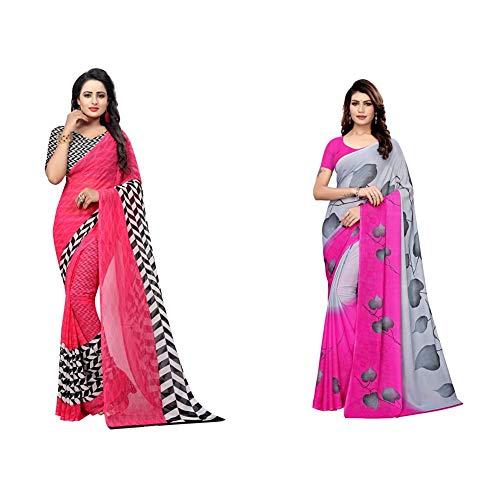 GoSriKi Art Silk with blouse piece Saree + georgette with blouse piece Saree (PIKU PINK-FLEX Free Size)