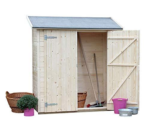 Gardiun KG12101 Marge Ext Abri en Bois Panélé 1,12 m² 70 x 160 x 187/175 cm Couverture asphaltique