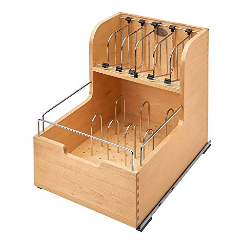 Rev-A-Shelf 4FSCO-18SC-1 Kitchen Food Storage Container Organizer Soft Close for 18 Inch Cabinets with Dividers and Blumotion Slides, Natural