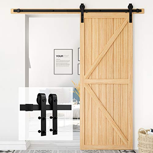 """Homlux 6ft Heavy Duty Sturdy Sliding Barn Door Hardware Kit Single Door - Smoothly and Quietly - Simple and Easy to Install - Fit 1 3/8-1 3/4"""" Thickness Door Panel(Black)(J Shape Hangers)"""