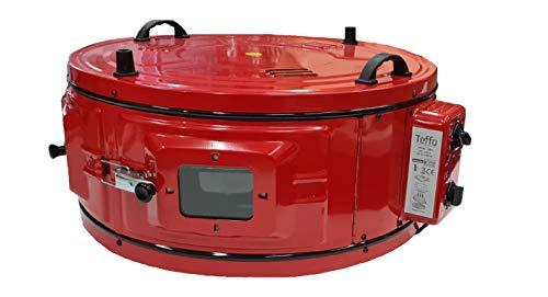 Elektrischer-Backofen-XXL-Rund-mit-Thermostat-und-Backblech-42-Liter-Schwarz-Rot (Black)