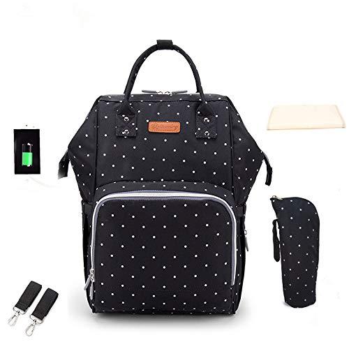 Hanggg Rugzak, grote capaciteit, multifunctionele mode, USB-moedertas, schouder Wellenpunkt schwarz
