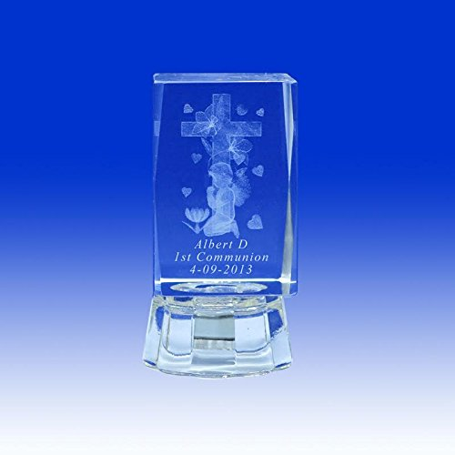 12 pcs Personalized Custom Laser Etched Engraving 3D Cross Praying Crystal Glass Cube for First Communion Comunión My 1st Communion (2.5'H)