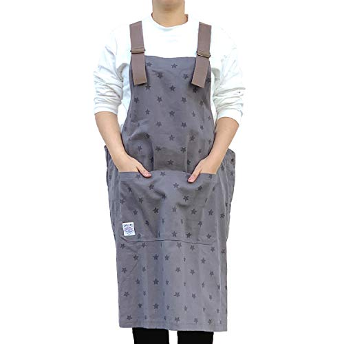 FABORI カバーオール ポケット付(フロントポケット,ヒップポケット) エプロン レディース メンズ フリーサイズ 【星柄グレー】