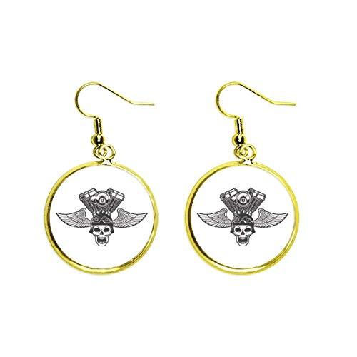 Ohrringe mit Brille und Leuchten-Skelett-Motorrad-Muster, goldfarben, für Damen