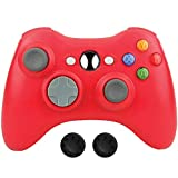 Wireless Xbox 360 Controller, Bek Design Remote Gamepad with Non-Slip Joystick Thumb Grips, Adjustable Double Shock Vibration and Live Play for Microsoft Xbox 360 Slim PC Windows 10 8 7 Color (Red)