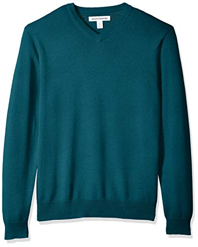 Amazon Essentials Men's V-Neck Sweater, Teal Heather, Large