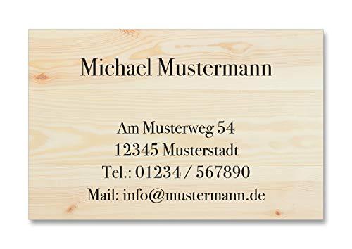 100 Visitenkarten, 350g/m Bilderdruck matt, 85 x 55 mm, inkl. Kartenspender - Design Holz Panele