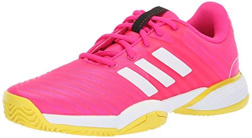 adidas Unisex Barricade 2018 Xj Running Shoe, Pink/White/Shock Yellow, 2 M US Big Kid