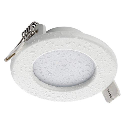 SEBSON® LED Foco empotrable para baño (IP44), Panel Light redondo, 5W, Blanco cálido 3000K, Ø85x30mm, Luz de Techo, downlight LED