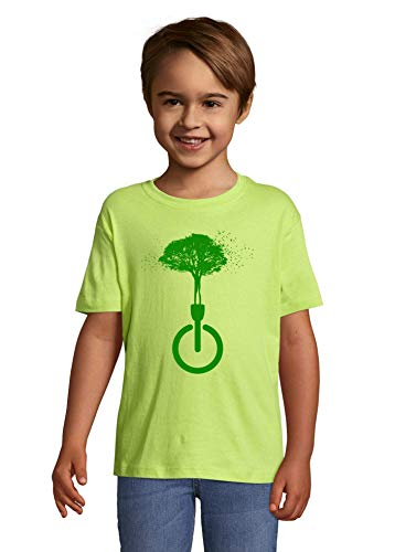 Luckyprint Dissconnect Green Nature Forest Birds Hippie Art Apple Green Kids Colorful T-Shirt 12 Year Old (142/152cm)