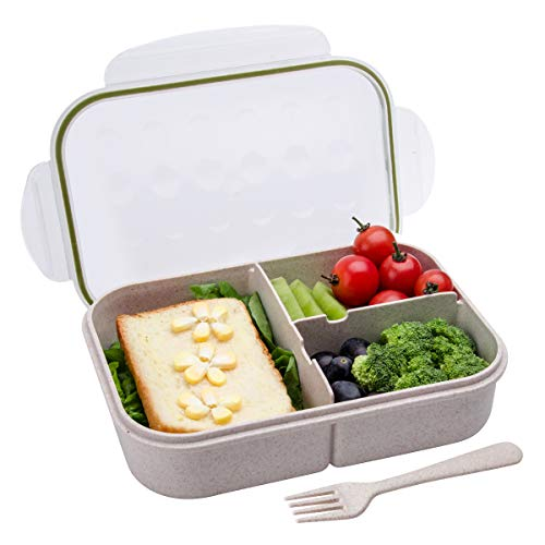 Bento Box,Bento Lunch Box for Kids and Adults, Leakproof Lunch Containers with 3 Compartments, Lunch box Made by Wheat Fiber Material(White) By Itopor