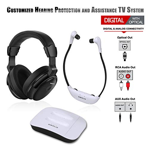 SIMOLIO Dual Digital Wireless TV Headphones, Hearing Protection Wireless Headphone for TV Watching, Wireless TV Headsets for All TVs, TV Hearing Assistance Device for Seniors and Hard of Hearing