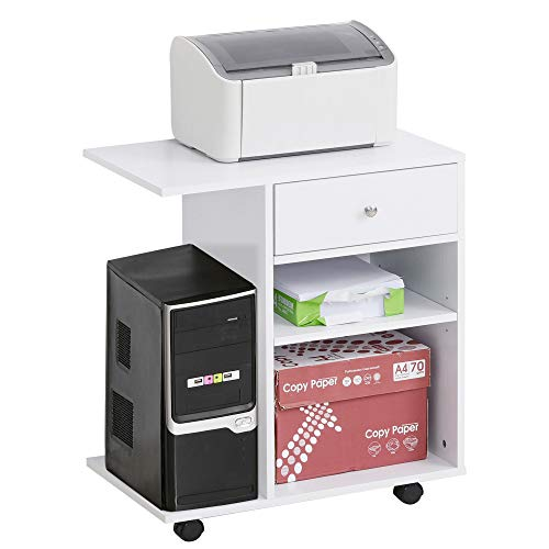 Vinsetto Armario para Impresora de Oficina Carro Multifuncional con Ruedas 2 Compartimentos Cajón y Soporte para CPU Estante Ajustable para Estudio 60x40x68,5 cm Blanco Veteado de Madera