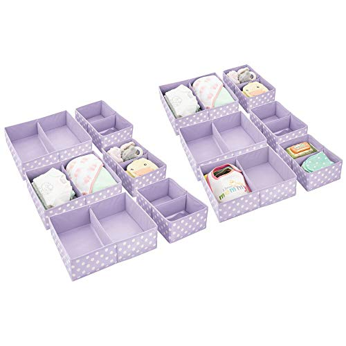 mDesign Soft Fabric Dresser Drawer and Closet Storage Organizer for Child/Kids Room, Nursery - Divided 2 Compartment Organizer - Fun Polka Dot Print, 6 Pack - Light Purple with White Dots